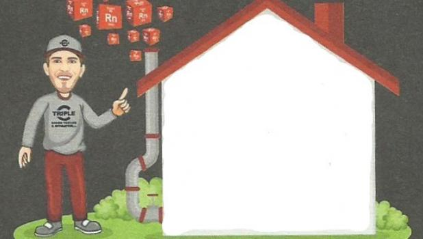 This drawing of Chad Janiszeski shows him ridding a home of radon gas.