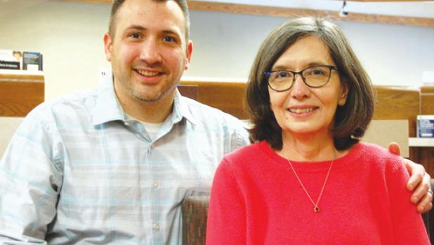 Doug DeSmet, left, has worked for the State Bank of Taunton for one year. He is now joined there by his mother, Monica, who has worked in banking for over 20 years.