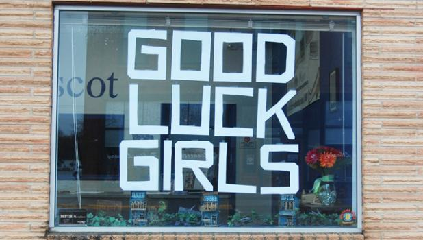 The Minneota Mascot's front window displays well wishes the girls basketball team as they play Belgrade-Brooten-Elrosa for the Class A state championship at 1 p.m. Friday at Target Center.