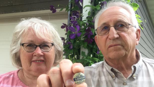 Kathy and Robert Gorecki of Ghent discovered and purchased this Val Bjornson campaign button in an antique store in Alexandria.