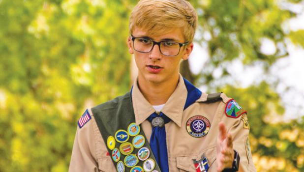 Jacob Haen speaks during his Scout of Honor ceremony Sunday in Ghent.