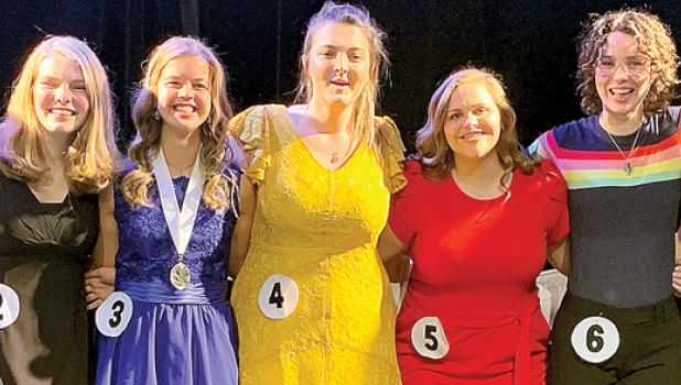 Local candidates for the Distinguished Young Woman of Minnesota Award were Molly Krog (No. 3) and Kim Bloch (No. 5).
