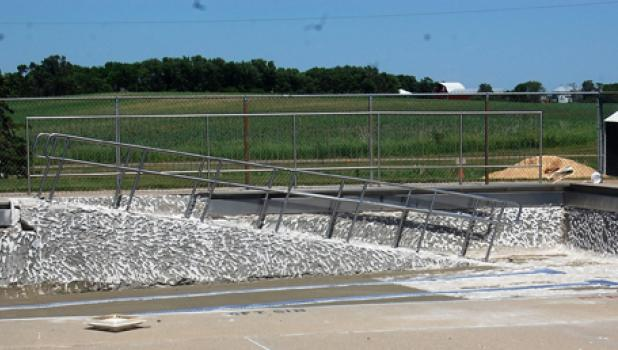 The Minneota Community Swimming Pool is currently being resurfaced as required before it can open this summer.