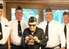 Taunton Legion members standing, left to right: Lon Gawarecki, Don Gorecki, Bill Vlaminck, David Hennen and Francis Rabaey presented Tom Swedzinski with a plaque to honor his 67 years as a member.