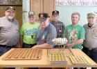 Helping with bingo are: (Left to right) Ken Buysse, Ed Lozinski, Fran Sturm, Leon Halling, Jack Jerzak and John DeSmet.