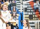 Elivia Faris reacts after getting one of her four kills against Canby last week.